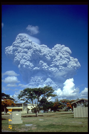 Mount Pinatubo eruption as seen from Clark Air Base